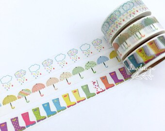 Umbrella Washi Tape • Rubber Boots Washi Tape • Clouds Washi Tape • Raining Washi Tape • Scrapbooking • Card Making • Planner Supply