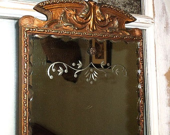 Antique Beveled and Etched Mirror,Wood and Gesso Frame,Nurre Maestro,Shabby Chic,Cottage,Vintage