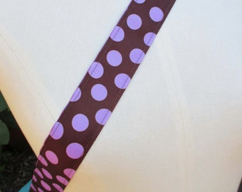 Purple orchid dot and chocolate polka dot yoga mat carry strap sling (not a bag)