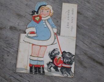 Vintage Valentine Card - Girl Walking Dog - Ca. 1920s (1587-W)