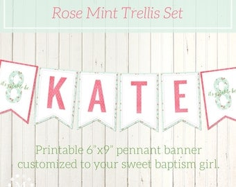 Personalized LDS Baptism Printable Banner for Girls - Rose Pink Mint Green - Trellis Style - Pennant Banner - It's Great to be 8