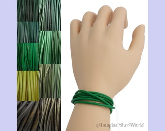 Custom Green LEATHER Cord Wrap Bracelet up to 72 inches long - choose shade, diameter, length, clasp color - 1.5 mm, 2 mm or 3 mm