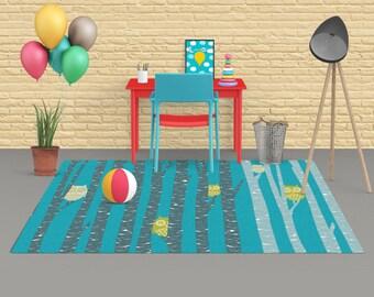 Nursery rug, Decorative Rug, Owl rug, carpet, area rug, forest rug, living room decor, trees rug, nursery decor, newborn decor, blue rug