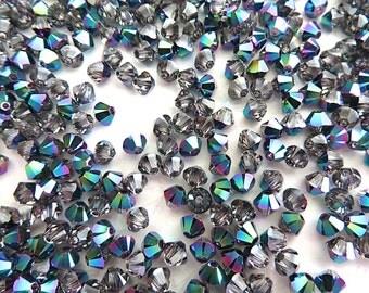 48 Scarabaeus Green Swarovski Crystals Beads Bicone 5328 4mm