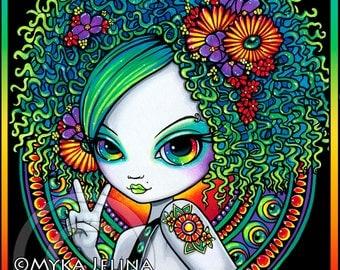 Rainbow Eyes 4X6 PRINT Hippie Mandala Psychedelic Flower Child Afro Fantasy Art Irisa Starfire