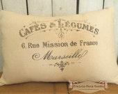 French Farmhouse Coffee stained Vintage topography feed/ flour sack pillow Prairie Prim charm ECS RDT