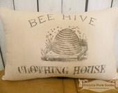Farmhouse Coffee stained Vintage Bee Hive feed/ flour sack pillow Prairie Prim charm ECS RDT