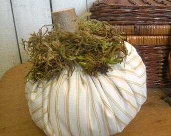 """Rustic Autumn PILLOW PUNKIN fabric pumpkin Prairie farmhouse ticking stripe 5"""" ecs rdt ofg svfteam FVGteam"""