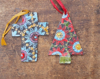 Christmas Ornaments READY TO SHIP Cross &Tree Ornament Set of 2 Pottery Ornaments Ceramic Ornament Tree Trim Gift for Couple Coworker Gift