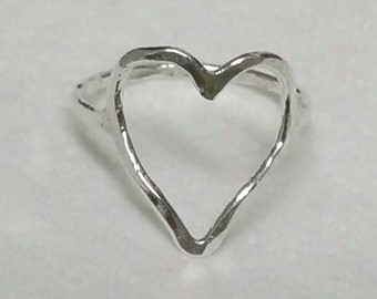 Heart Ring, Made To Order, Fine Silver Open Heart Ring, Heart Ring, Heart Stacking Ring, Fine Silver Stacking Ring by Maggie McMane Designs