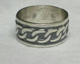 Sterling Silver Celtic Ring, Wide Band, Oxidized Sterling Silver, Size 8, Celtic Chain, Non Traditional Wedding Bandby Maggie McMane Designs