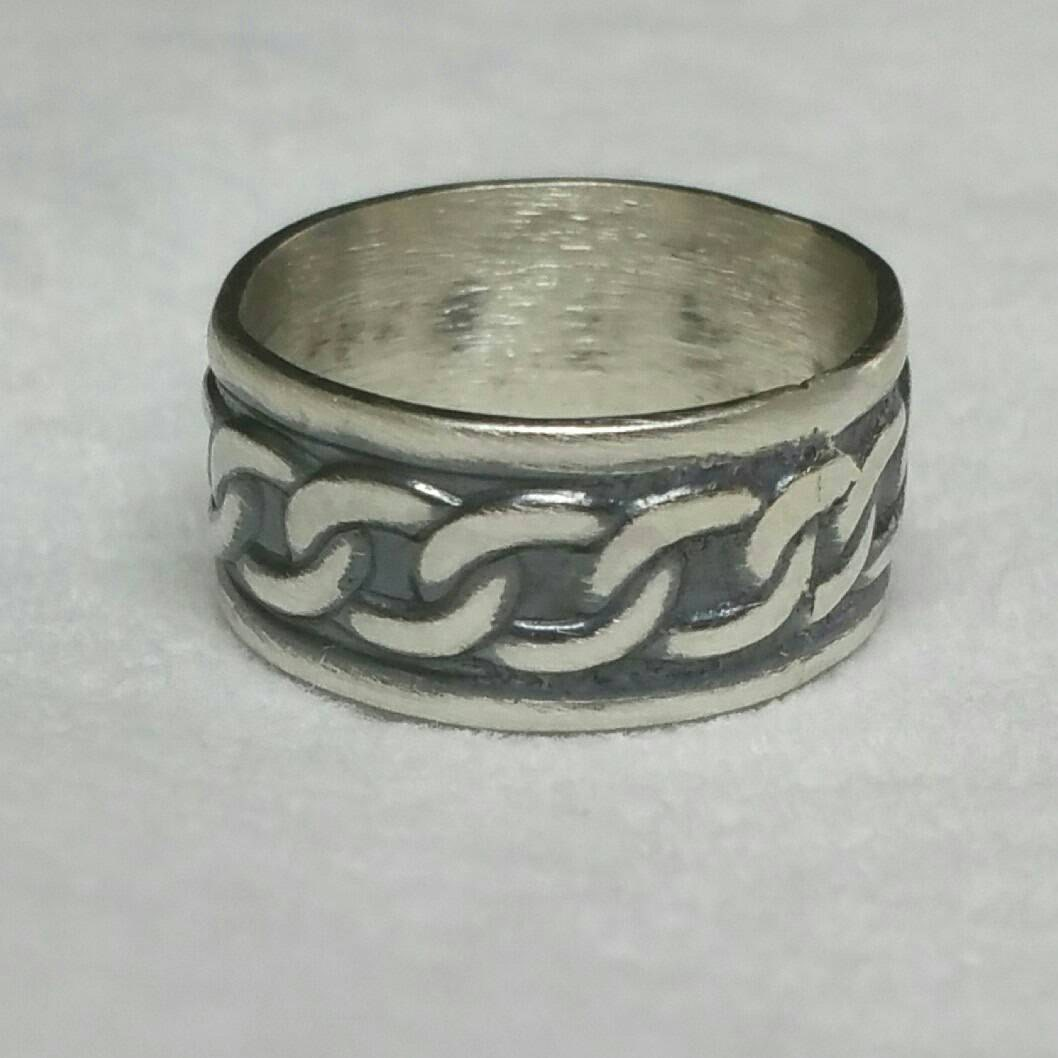 sterling silver celtic ring wide band oxidized sterling