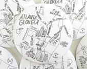 Atlanta, Georgia Map Magnet