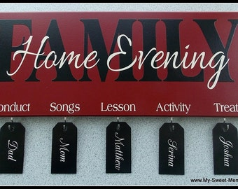 18x7 FHE Family Home Evening Plaque - Wood with Vinyl Lettering