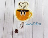 Coffee Cup Felt Badge Holder with Retractable Reel. A great ID Badge Holder for yourself or for your favorite nurse, teacher, coworker