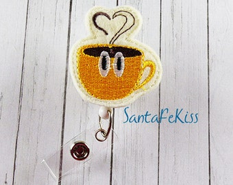 Cup of Coffee ID Badge - Embroidered Felt Badge Reel - Retractable ID Badge Holder - Badge Reel Clip - Medical Badge