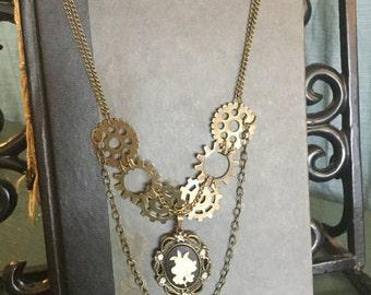 Clockwork Floral - Oxidized Brass Necklace