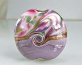 Custom-Reserve-Purple Pink Silver Lampwork Glass Focal Bead