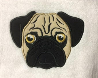 BATH TOWEL Pug Personalized Towel