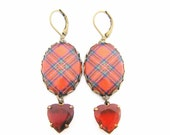 Scottish Tartan Jewelry - Ancient Romance Series - Royal Stewart Tartan Hearts Earrings with Siam Red Heart Glass Charms