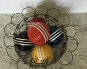 set of five vintage wood striped croquet balls