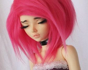 "MSD Doll  BJD wig 7"" Hot pink fake fur doll wig MonstroDesigns Minifee"