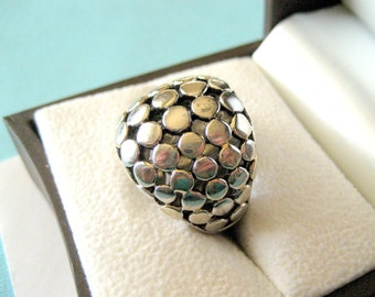 Wide Sterling Silver Balinese Dot Ring
