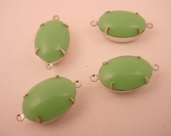 4 Vintage Seafoam Sea Green Jadite Oval Glass Connectors 16x11 2 Ring Closed Back silver setting