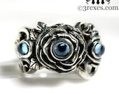 Silver Rose Moon Spider Ring Blue Topaz Stones Gothic Flower Band Size 6