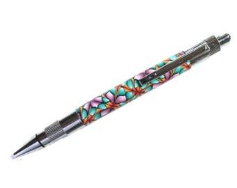 Stratus style click pen polymer clay Millefiori design silver chrome finish STR06