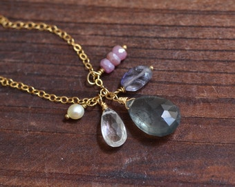 14kt Gold Moss Aquamarine Necklace - Dainty Gold Necklace - Blue Pink Gemstone Cluster Necklace - Mixed Stone Drop Necklace - Boho Necklace
