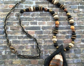 SUMMER SALE Super SALE! Stone Necklace Polymer clay Iron Tigers Eye and Beads