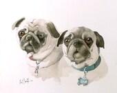 Dog Painting / Watercolor Print / Animal Art / Pug Dog / Pet / Dog Illustration / Dog wall decor / dog theme  / dog print / Grey painting /C
