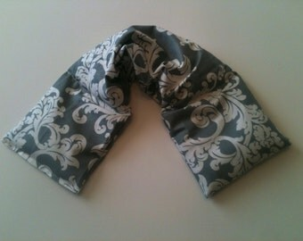 Heat Pack or Cold Therapy Wrap/ Neck Shoulder/ Flax Seed,Mint, Gray Floral