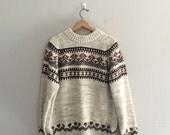Vintage chunky knit 1970s sweater / vintage ski sweater