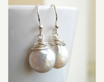 Clearance SALE Coin Pearl Wire Wrapped Sterling Dangle Earrings GE5