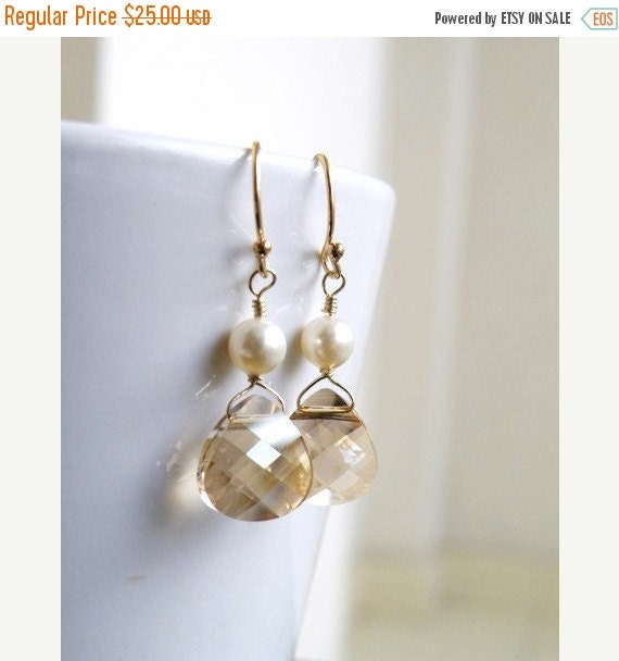 Clearance SALE Swarovski Crystal Earrings Champagne Briolette Gold BE11
