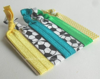 Soccer green and yellow fold over elastic hair ties set of 6