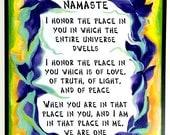 NAMASTE YOGA Meditation 11x14 Poster Inspirational Quote New Home Love Wedding Blessing Studio Wall Decor Heartful Art by Raphaella Vaisseau