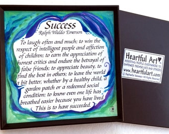 SUCCESS Magnet EMERSON Inspirational Quote Motivational Print RETIREMENT Gift Kitchen Office Birthday Heartful Art by Raphaella Vaisseau