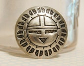 Vintage Hopi or Zuni Stamped Button Authentic Vintage Silver Old Native American 30s
