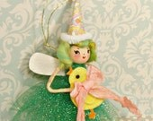 Easter pixie fairy doll ornament yellow chick party decor spring decor vintage retro inspired yellow green birthday party pixie ooak doll