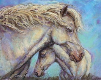 Nursery Art-Horse painting-Equine Decor-Mare and Foal-Nursery-''Mother's Love'