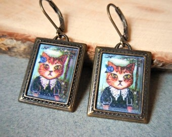 Cat in black dress earrings, cat cameo portrait earrings, frame picture cat jewelry, antique brass bronze vintage style pet animal gift cat