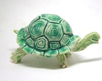 green tortoise - patterned turtle - original porcelain sculpture