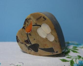 Handmade Heart Shaped SoapStone Light brown/tan Trinket Box Decorated with Inlaid Mother of Pearl Orange Black Onyx Orange