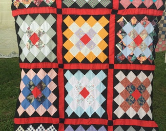 Vintage Colorful Patchwork Kentucky Made Quilt Top Set in Red