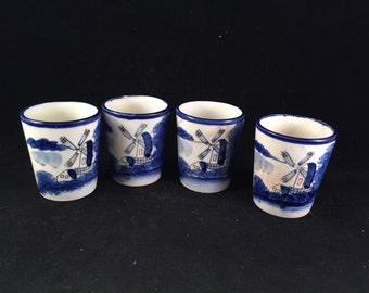 Set of 4 Vintage Made in Japan Blue Delph Drinking Glasses