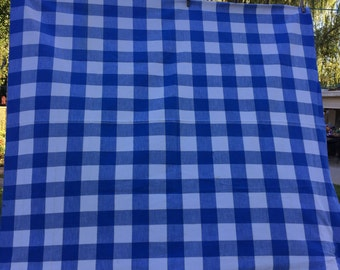 Vintage Blue and White Check Tablecloth