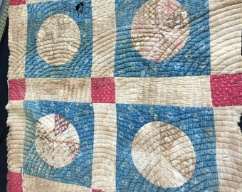 Vintage Primitive Hand Quilted Well Loved Blue and Red Calico Cutter Quilt Piece